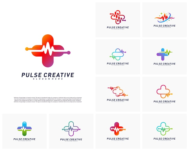 Conjunto de concepto de diseño de logotipo plus medical pulse