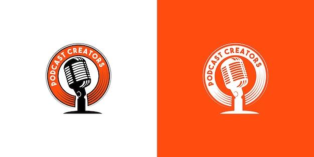 Conjunto de concepto de diseño de logotipo de podcast