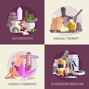 Conjunto de concepto de diseño de medicina alternativa