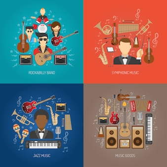 Conjunto de concepto de diseño de música