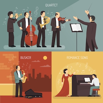 Conjunto de concepto de diseño de músicos