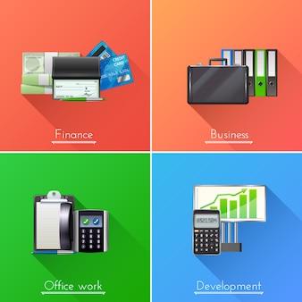 Conjunto de concepto de diseño de negocios