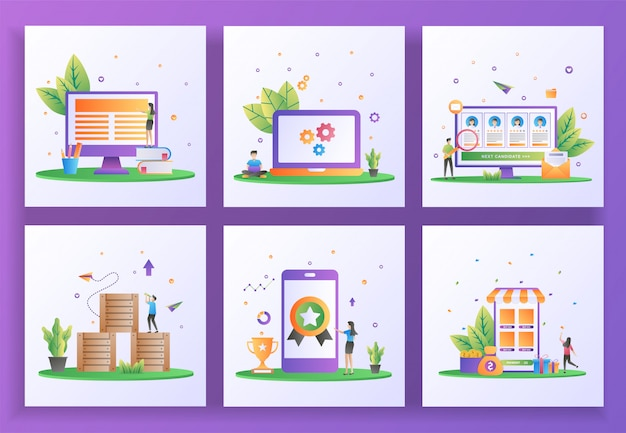 Conjunto de concepto de diseño plano. aprendizaje en línea, mantenimiento, reclutamiento en línea, distribución logística, alta calidad, devolución de efectivo.