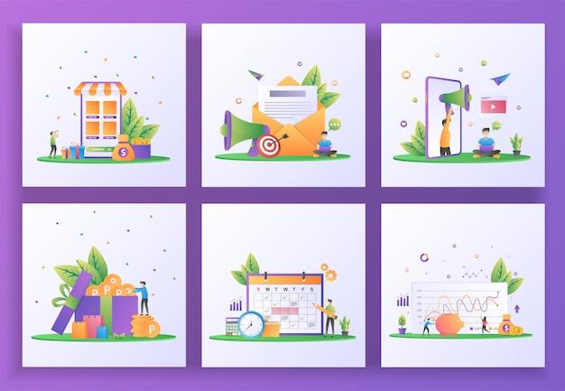 Conjunto de concepto de diseño plano. devolución de efectivo, marketing por correo electrónico, recomendar a un amigo, ganar puntos, calendario de planificación, inversión.