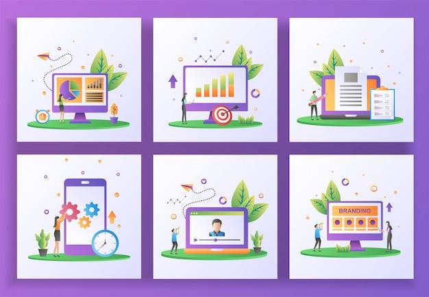 Conjunto de concepto de diseño plano. gestión de datos, informes de ventas, creador de contenido, actualización de aplicaciones móviles