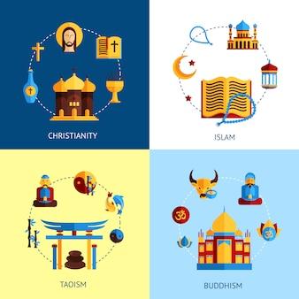 Conjunto de concepto de diseño de religión