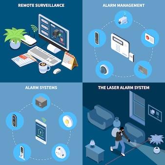 Conjunto de concepto de diseño de seguridad para el hogar 2x2 de vigilancia remota sistema de alarma de gestión de alarma láser iconos cuadrados isométricos