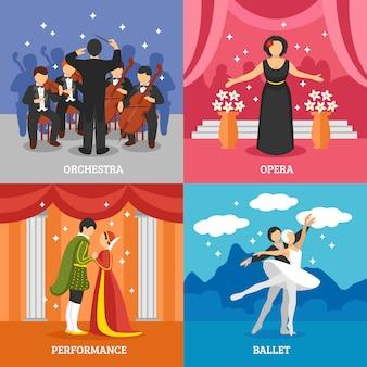 Conjunto de concepto de diseño teatral teatral