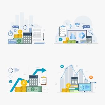 Conjunto de concepto de diseño de vector plano de planificación financiera y empresarial