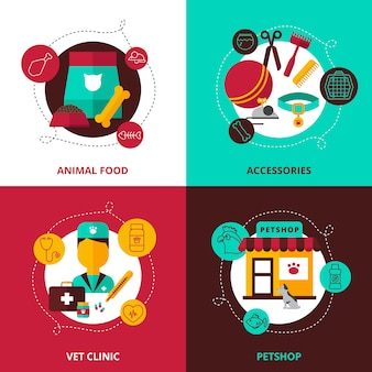 Conjunto de concepto de diseño veterinario de piensos y accesorios para animales veterinario clínica y tienda de mascotas composiciones vector plano ilustración
