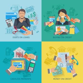 Conjunto de concepto de diseño de vida de crédito