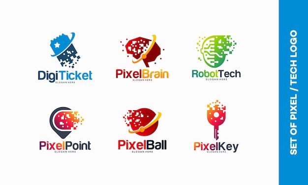 Conjunto de concepto de diseños de logotipos de pixel tech, boleto digital, logotipo de pixel brain, robotic tech, pixel point, fast tech ball, plantilla de logotipo pixel key