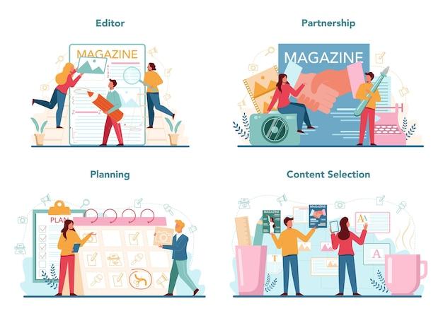 Conjunto de concepto de editor de revista