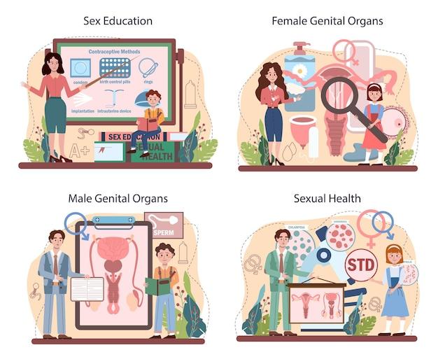 Conjunto de concepto de educación sexual. lección de salud sexual para jóvenes