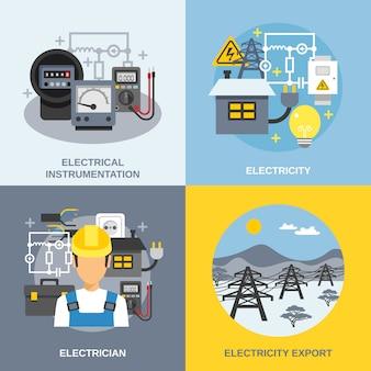 Conjunto de concepto de electricidad