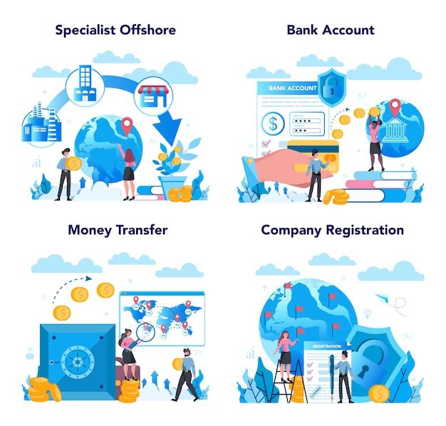 Conjunto de concepto de empresa o especialista offshore