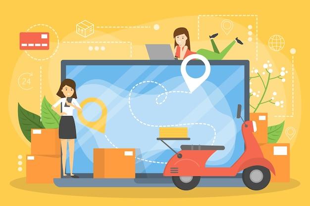 Conjunto de concepto de entrega de alimentos en línea. pedido de comida en internet
