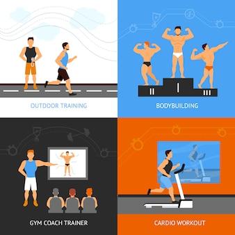 Conjunto de concepto de entrenador