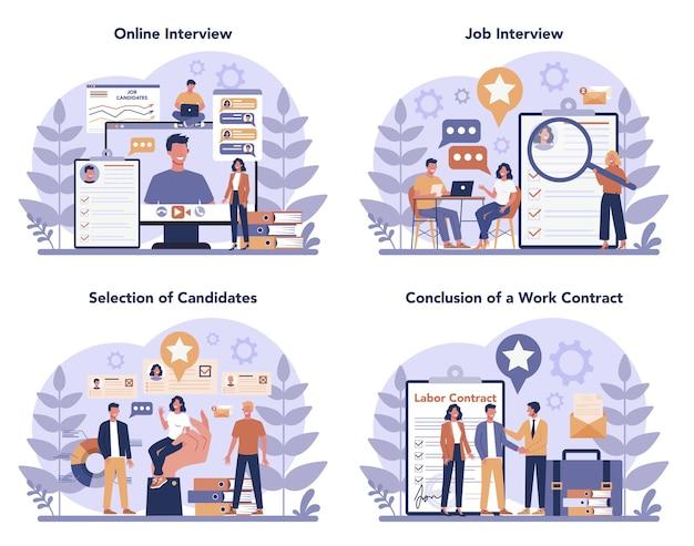 Conjunto de concepto de entrevista de trabajo