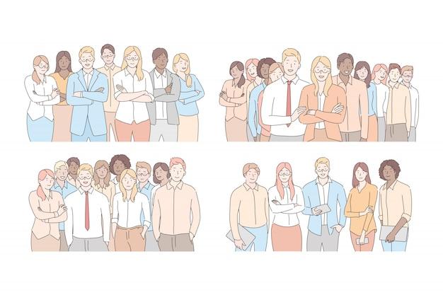 Conjunto de concepto de equipos de empresarios