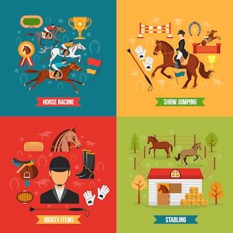 Conjunto de concepto de equitación