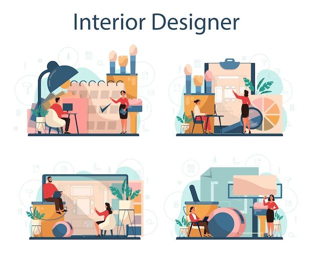Conjunto de concepto de er interior profesional. decorador planificando el diseño de una habitación, eligiendo el color de la pared y el estilo de los muebles. renovación de la casa.