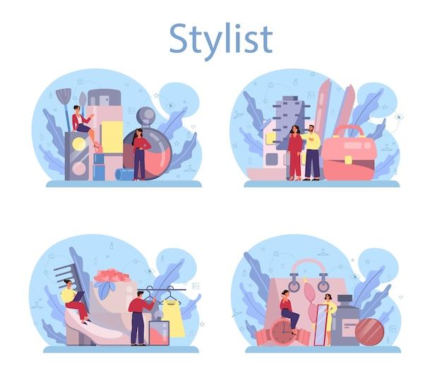 Conjunto de concepto de estilista de moda.
