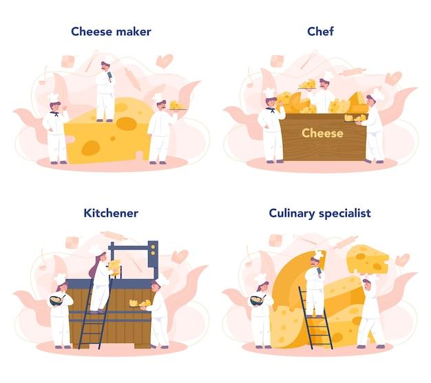 Conjunto de concepto de fabricante de queso. chef profesional haciendo bloque de queso. cocina con uniforme profesional, sosteniendo una rebanada de queso. producción de queso. ilustración de vector aislado