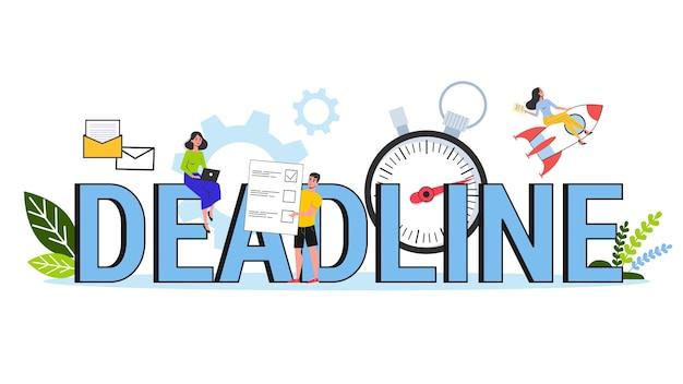 Conjunto de concepto de fecha límite. idea de mucho trabajo y poco tiempo. problemas comerciales. ilustración