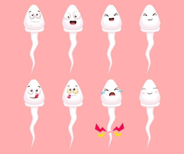 Conjunto de concepto de fertilización de células de esperma divertido feliz lindo