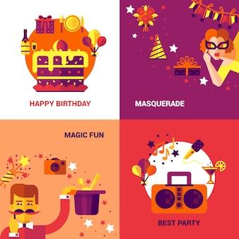 Conjunto de concepto de fiesta