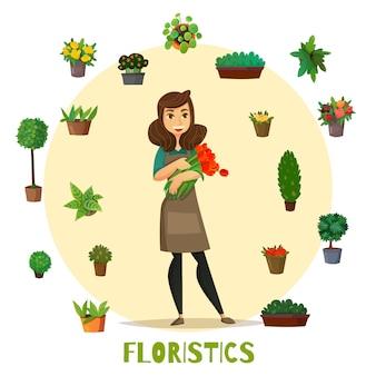 Conjunto de concepto de floristas