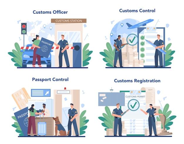 Conjunto de concepto de funcionario de aduanas