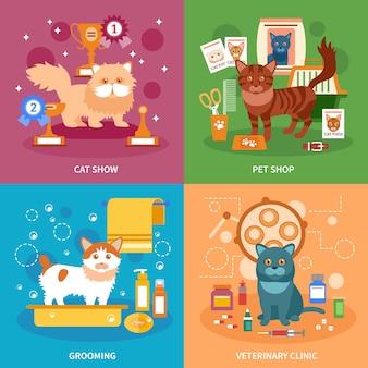 Conjunto de concepto de gatos