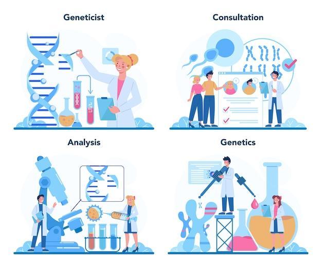 Conjunto de concepto de genetista. medicina y tecnología científica.