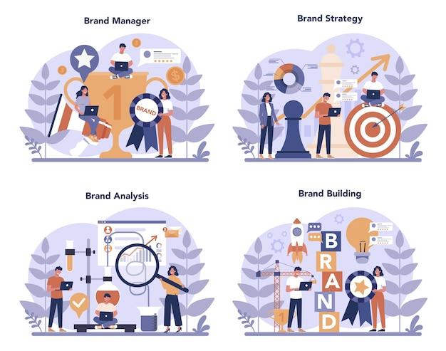 Conjunto de concepto de gerente de marca