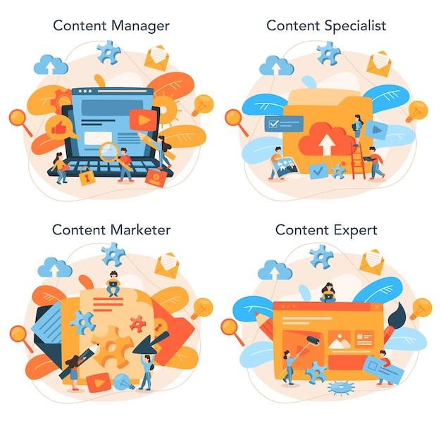 Conjunto de concepto de gestión de contenido