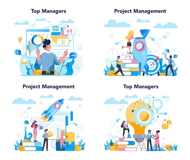 Conjunto de concepto de gestión superior empresarial. estrategia exitosa,