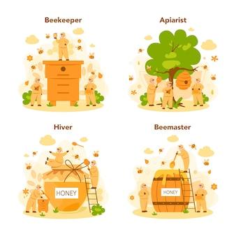 Conjunto de concepto de hiver o apicultor. agricultor profesional con colmena y miel. producto orgánico de campo. trabajador de colmenar, apicultura y producción de miel.