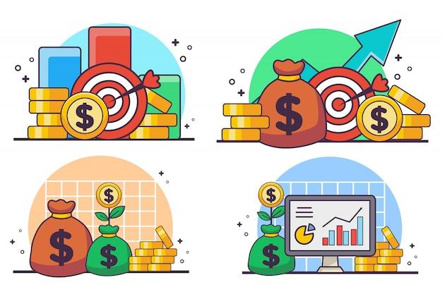 Conjunto de concepto de ilustración de destino de dinero