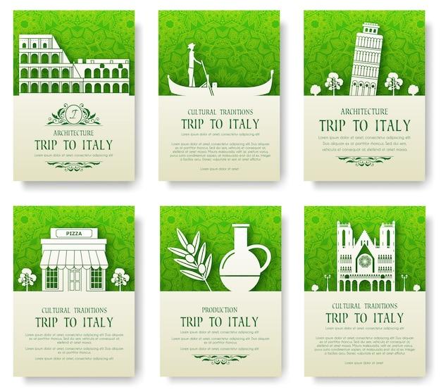 Conjunto de concepto de ilustración de ornamento de país de italia
