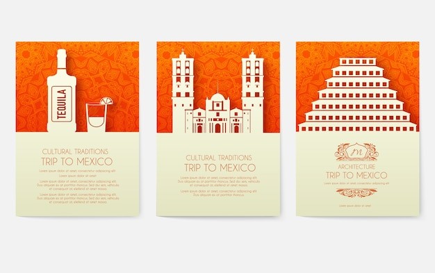 Conjunto de concepto de ilustración de ornamento de país de méxico. arte tradicional, cartel, libro, cartel, abstracto, motivos otomanos, elemento. tarjeta de felicitación étnica decorativa o fondo de invitación.