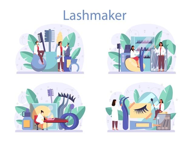Conjunto de concepto de lashmaker. procedimiento del centro de belleza. personaje femenino poniendo pestañas postizas en el salón.