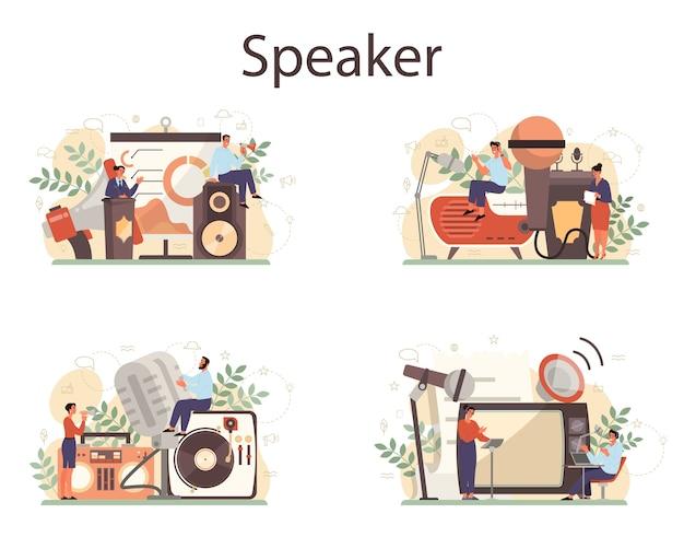 Conjunto de concepto de locutor, comentarista o actor de voz profesional. peson hablando con un micrófono. radiodifusión o megafonía. ponente en seminario empresarial. ilustración de vector aislado