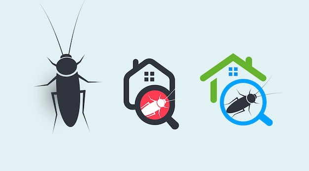 Conjunto de concepto de logotipo de servicio de control de plagas protección de la casa de símbolos de insectos