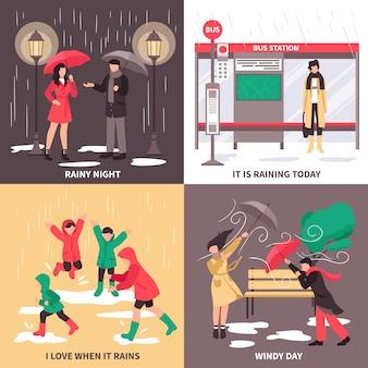 Conjunto de concepto de mal tiempo