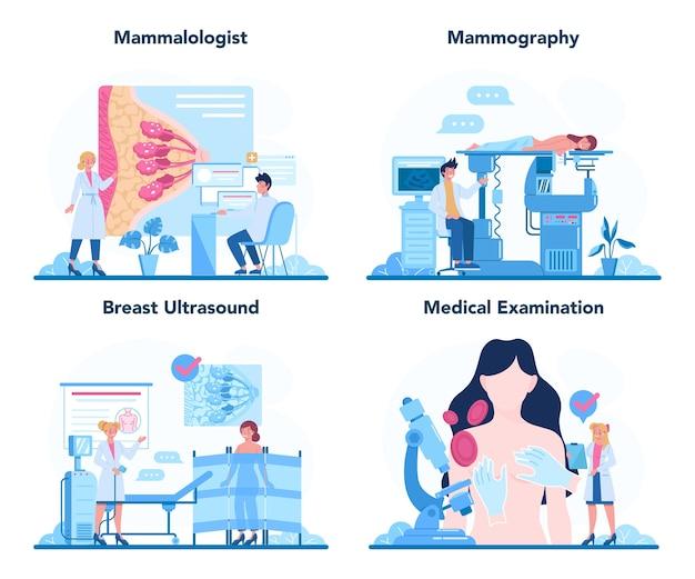 Conjunto de concepto de mamólogo. consulta con médico sobre cáncer de mama.