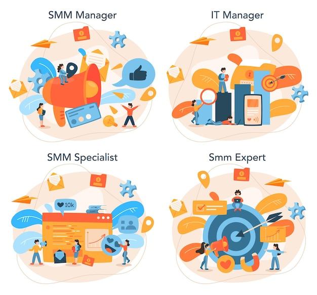 Conjunto de concepto de marketing en redes sociales smm