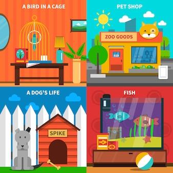 Conjunto de concepto de mascotas