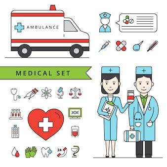 Conjunto de concepto de medicina